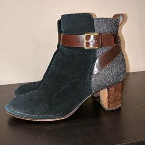 Clarks Side Zip Ankle Boots With Heel & Buckle
